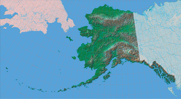 USA State Relief and Vector Map Package of Alaska