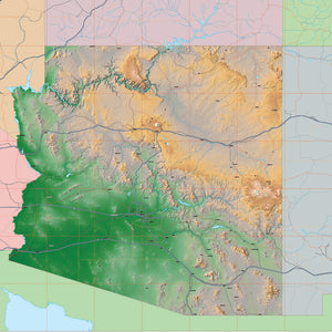 USA State Relief and Vector Map Package of Arizona