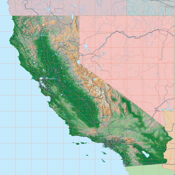 USA State Relief and Vector Map Package of California