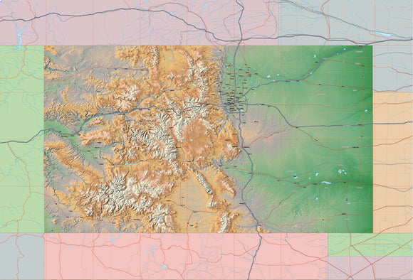 USA State Relief and Vector Map Package of Colorado