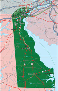 USA State Relief and Vector Map Package of Delaware