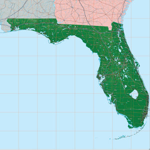 PowerPoint Map #910 Florida