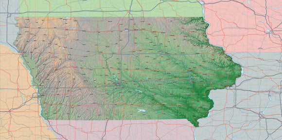 USA State Relief and Vector Map Package of Iowa