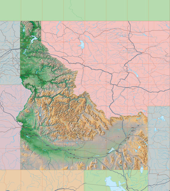 USA State Relief and Vector Map Package of Idaho