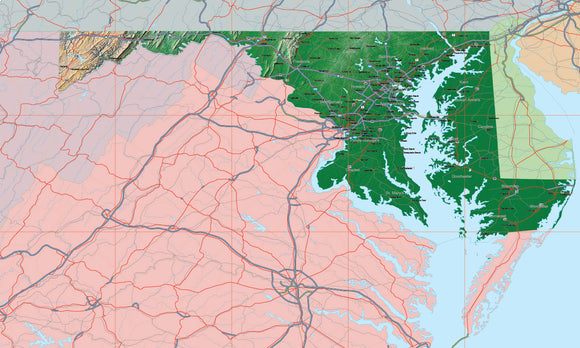 USA State Relief and Vector Map Package of Maryland