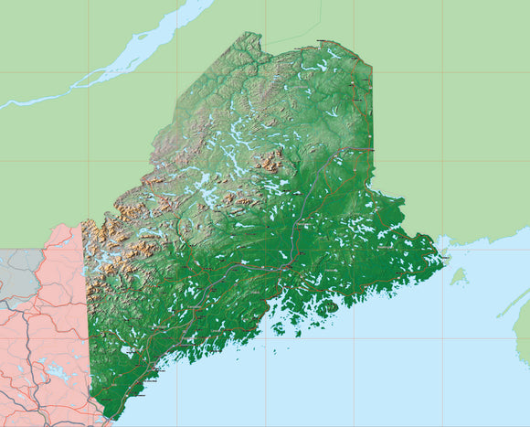 USA State Relief and Vector Map Package of Maine