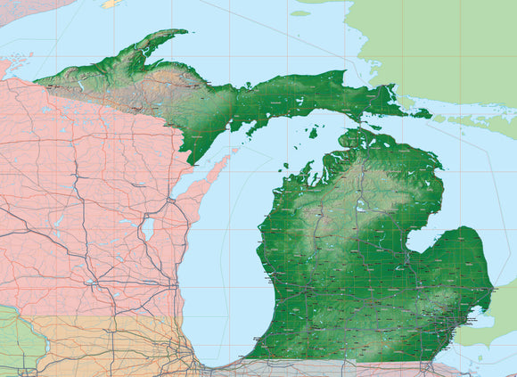 USA State Relief and Vector Map Package of Michigan