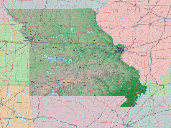 USA State Relief and Vector Map Package of Missouri