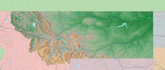 USA State Relief and Vector Map Package of Montana