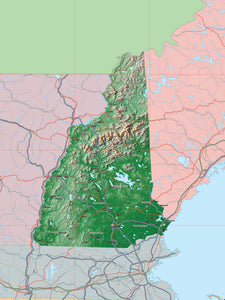USA State Relief and Vector Map Package of New Hampshire