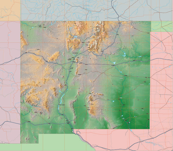 USA State Relief and Vector Map Package of New Mexico