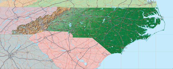 USA State Relief and Vector Map Package of North Carolina