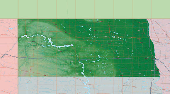 USA State Relief and Vector Map Package of North Dakota
