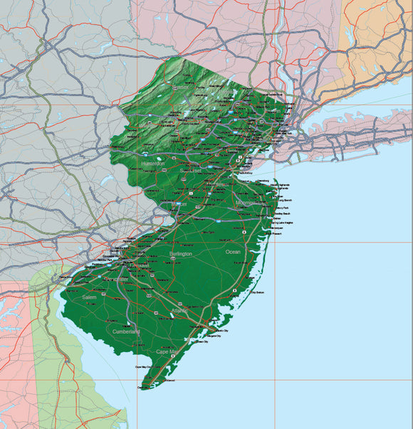 USA State Relief and Vector Map Package of New Jersey