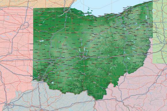 USA State Relief and Vector Map Package of Ohio
