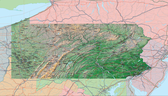 USA State Relief and Vector Map Package of Pennsylvania