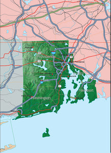 USA State Relief and Vector Map Package of Rhode Island