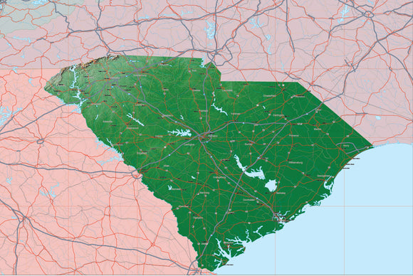 USA State Relief and Vector Map Package of South Carolina
