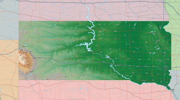 USA State Relief and Vector Map Package of South Dakota