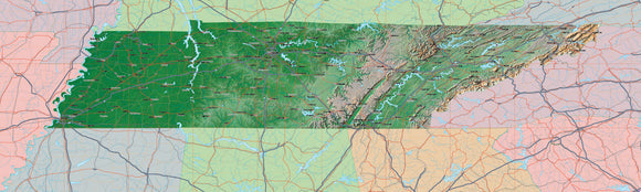 USA State Relief and Vector Map Package of Tennessee