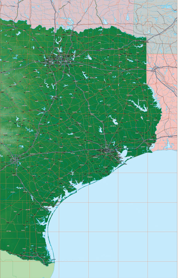 USA State Relief and Vector Map Package of Texas (East)