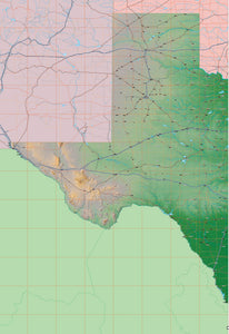 USA State Relief and Vector Map Package of Texas (West)