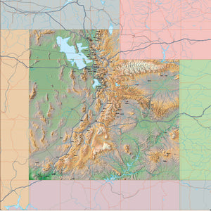 USA State Relief and Vector Map Package of Utah
