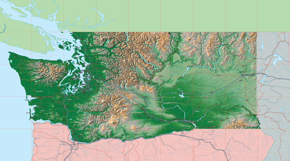 USA State Relief and Vector Map Package of Washington