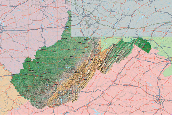 USA State Relief and Vector Map Package of West Virginia