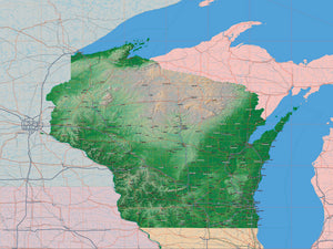 USA State Relief and Vector Map Package of Wisconsin