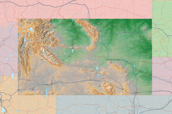 USA State Relief and Vector Map Package of Wyoming