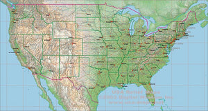 USA 300 Meter Relief and EPS Vector Map Package