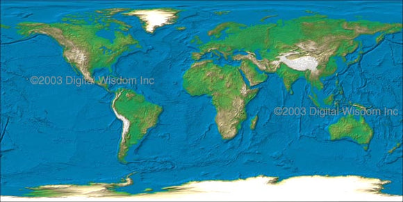 World 4 km Photoshop JPEG Relief map and Illustrator EPS vector map  - Cartographic projection