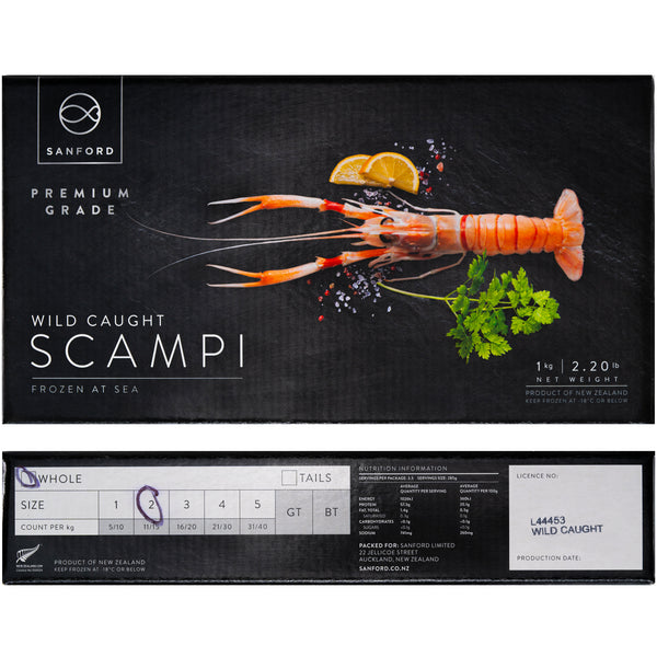 NZ Scampi Wild Caught Whole Size No:2 11-15pc (1kg)
