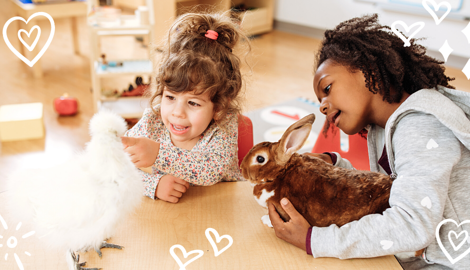 two little girls holding a white silkie chicken and a rabbit