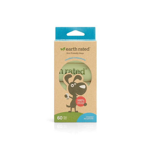 Earth Rated 60 Certified Compostable Bags on 4 Refill Rolls - Backwoods Dog