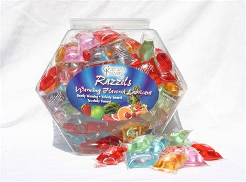 Razzels Warming Lubricant - 100 Pillow Fishbowl - Assorted Flavors CF-RPF-10D