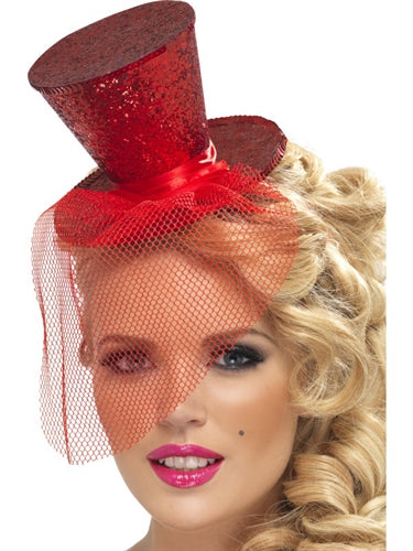 Mini Top Hat on Headband - Red FV-21298