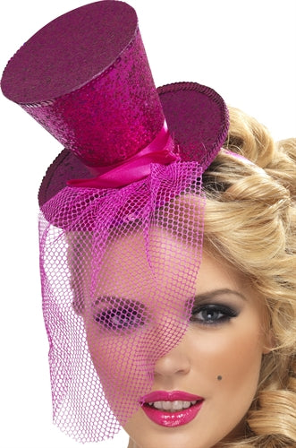 Mini Top Hat on Headband - Hot Pink FV-21194