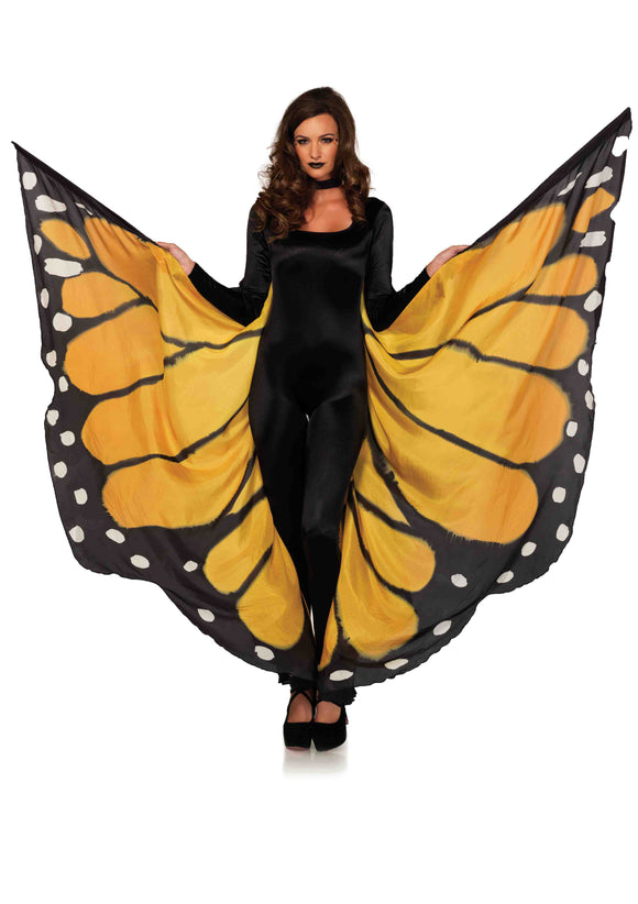 Festival Butterfly Wing Halter Cape - Orange/  - One Size - Black LA-A2782