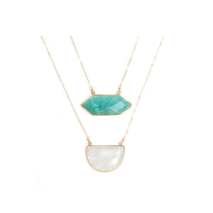 Double Semi Precious Amazonite and Chalcedony Necklace