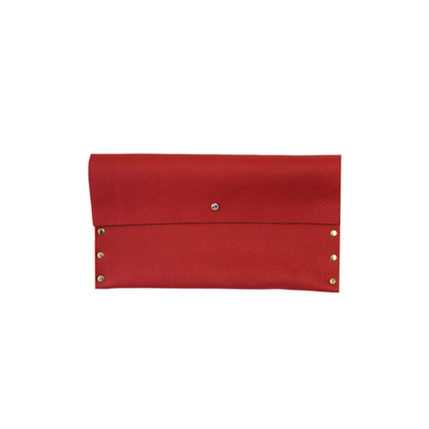 Stud and Crystal Leather Clutch