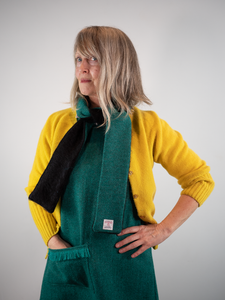 NEW Slim scarf emerald black mohair