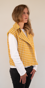 Yellow small check Gilet
