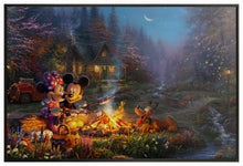 "Load image into Gallery viewer, Mickey and Minnie Sweetheart Campfire - 40"" x 60"" Canvas Wall Murals (Onyx Black Frame) - ArtOfEntertainment.com"