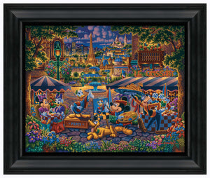 "Mickey and Friends Painting in Paris - 19"" x 22.5"" Framed Canvas Prints 103319"