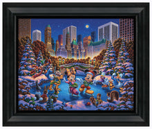 "Load image into Gallery viewer, Mickey and Friends Skating in Central Park - 19"" x 22.5"" Framed Canvas Prints 103322"