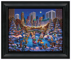 "Mickey and Friends Skating in Central Park - 19"" x 22.5"" Framed Canvas Prints 103322"