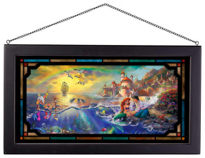 "The Little Mermaid - 13"" x 23"" Framed Glass Art 107191"