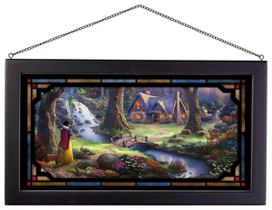 "Snow White Discovers the Cottage - 13"" x 23"" Framed Glass Art 107193"
